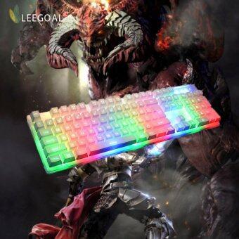 Leegoal กลเกมสัมผัสแป้นพิมพ์ 7 สีชมพู led usb เพื่อต่อสายแป้นพิมพ์เกม ขาว