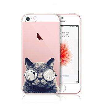AFTERSHOCK TPU Case iPhone5 / 5S / SE (เคสใสพิมพ์ลาย Black Cat) / Thin 0.33 mm