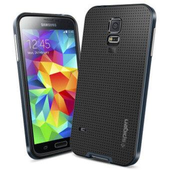 S5 ที่มีโลโก้สองชั้นยี่ห้อ Neo เกราะเคสสำหรับ Samsung Galaxy S5 i9600 เย็นถุงคลุมร่างไฮบริดโทรศัพท์ย้อนกลับสำหรับ Samsung S5 (สีดำ)