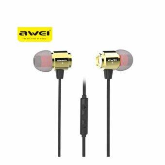 Awei S10Hi Earphone With Volume Control In-ear Plug Noodle Earbud Earphones With Microphone หูฟังสเตอริโอ in-ear + ไมโครโฟนสำหรับโทรศัพท์มือถือ (Gold)