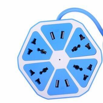 DT ปลั๊กไฟทรงผลไม้ 4ช่องUSb ชาร์จมือถือได้ 4 usb hexagon socket (สีฟ้า)