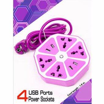 ปลั๊กไฟพ่วง ปลั๊กพ่วง รางปลั๊กไฟทรงหกเหลี่ยมพร้อมพอร์ท USB : สีม่วง