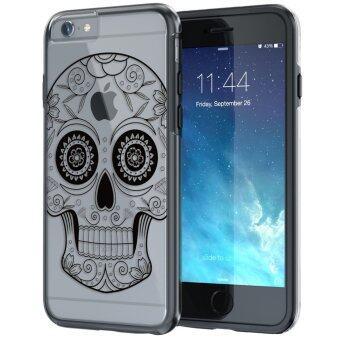 555jewelry เคสใสไฮบริดสำหรับ iPhone6/iPhone6s จากTrue Color® ขอบ TPU แบบนิ่มไม่บาดตัวเครื่องสีดำ ด้านหลังเคสใสแบบแข็งพร้อมลาย Sugar Skull on Damask HD Print