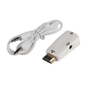 โอ้ HDMI ตัวผู้กับตัวเมียตัวแปลง Vga แบบกล่องอะแดปเตอร์ที่มีสายเคเบิลเสียงสำหรับคอมพิวเตอร์เข้ากับ Hdtv ขาว