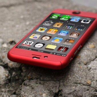 360° Hard Ultra thin Case + Tempered Glass Cover For iPhone เคสประกบ Iphone 6 รุ่น เมทาลิค (Red)