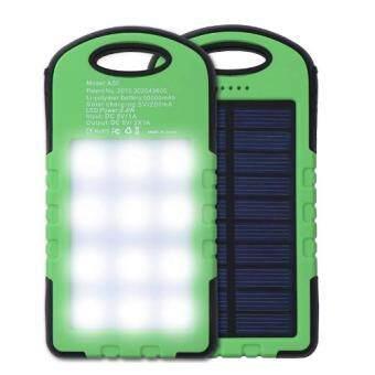 แบตสำรอง 2ระบบ รุ่นโซล่าเซลล์และไฟฟ้า กันน้ำได้ เพิ่มหลอดไฟLED เพื่อความสวา่งยามฉุกเฉินจุถึง 50000mah สีเขียว(Green 30000mah)