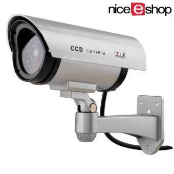 นำเสนอ niceEshop กันน้ำกลางแจ้งปลอมกล้อง Dummy การรักษาความปลอดภัยที่มีไฟกระพริบสีเงิน นำเสนอ