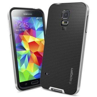 S5 ที่มีโลโก้สองชั้นยี่ห้อ Neo เกราะเคสสำหรับ Samsung Galaxy S5 i9600 เย็นถุงคลุมร่างไฮบริดโทรศัพท์ย้อนกลับสำหรับ Samsung S5 (เงิน)