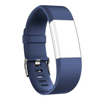 Seeme สายสำหรับ Fitbit ประจุ 2 ซิลิโคนนิ่มรัดสายปรับได้เปลี่ยนกีฬาสำหรับ Fitbit Charge2 อัตราการเต้นของหัวใจ+ออกกำลังกายสายรัดข้อมือ (สีน้ำเงิน)Intl