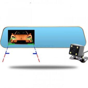 Good Car Camcorder Rear-View Mirror กล้องติดรถยนต์แบบกระจกมองหลังพร้อมกล้องติดท้ายรถ 1080P (สีดำขอบทอง)