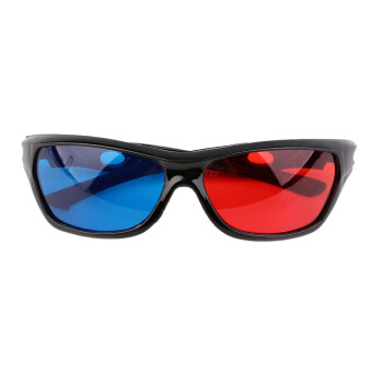 โอ้สีดำกรอบสีแดงสีน้ำเงิน 3D แว่นตาสำหรับดูหนังเล่นภาพสามมิติมิติ DVD (สีน้ำเงิน)