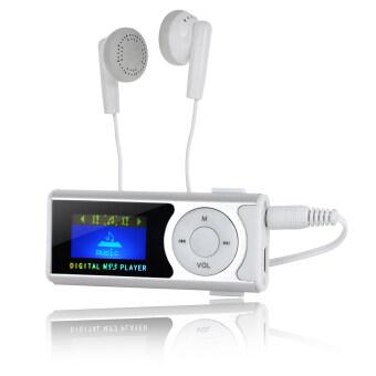 1.0นิ้วแสดงผลผ่านโอแอลอีดี MP3 เล่นกับไฟฉายกระสุน (เงิน/ขาว)