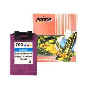 PRITOP HP ink Cartridge 703/703C/703CO/CD888A ใช้กับปริ้นเตอร์ HP DeskJet K209A/K109A/F735 AIO Pritop