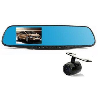 BESTกระจก ติดรถยนต์ รูปทรงกระจกมองหลัง พร้อมกล้องมองหลัง HD 1080P Vehicle Blackbox DVR Rearview Mirror Dual Channel Recorder - Black (image 1)