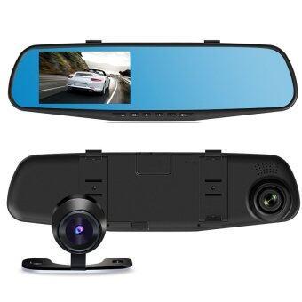 BESTกระจก ติดรถยนต์ รูปทรงกระจกมองหลัง พร้อมกล้องมองหลัง HD 1080P Vehicle Blackbox DVR Rearview Mirror Dual Channel Recorder - Black (image 0)