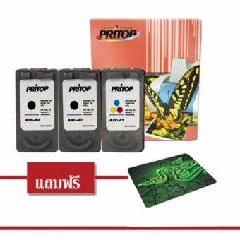 Canon Ink Cartridge 40XL/41XL ตลับหมึกอิงค์เทียบเท่า Pritop สีดำ 4 ตลับ แถมฟรีแผ่นรองเมาส์ 1 แผ่น