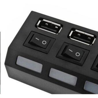 HI-SPEED 4 พอร์ต USB 20 Hub กับสวิทช์ไฟฟ้าส่วนบุคคลและไฟ LED สีดำ