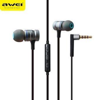 Awei is-70ty หูฟังสเตอริโอในหูพร้อมหูฟังแบบมีสายหูฟังพร้อมไมโครโฟน (สีเทา) - intl