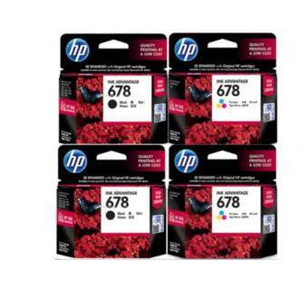 HP ตลับหมึกแท้ HP CZ107AA 678Bk 2 กล่อง และ CZ108AA 678Co 2 กล่อง