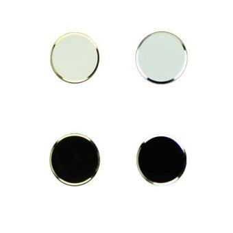 ปุ่มโลหะมีสติ๊กเกอร์บ้านฝางสำหรับ iPhone 5/5S (สีดำ+ขาว)