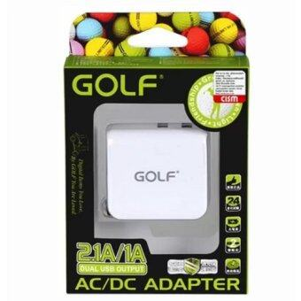 Golf Dual USB Charge Adapter 2.1A/1A / Adapter USB 2 ช่อง (White)