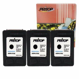 Pritop HP ink Cartridge 21/21BK/21XL/C9351CA ใช้กับปริ้นเตอร์ HP DeskJet 3910,3915,3930,3940,D1330,D1360,D2330,D2360 /All-in-One F340, F380 /Office jet 4315 จำนวน 3 ตลับ