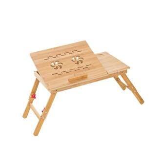 โต๊ะลายไม้พับได้สำหรับโน๊ตบุ๊ค มีพัดลมระบายความร้อนและลิ้นชัก พร้อมปรับระดับสูง ต่ำได้ รุ่น2ใบพัด