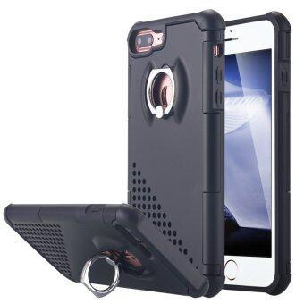 iPhone 7 Plus เคส การป้องกันผลกระทบสองชั้นกันกระแทกกล่อง 360องศาหมุนแหวนยึดขาตั้งกล้องสำหรับ Apple iPhone 7 Plus-สีดำ