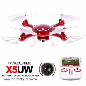 โดรนบังคับ ติดกล้อง ดูภาพผ่านมือถือ บินนิ่งที่สุด บังคับง่าย Drone SYMA X5UW 720P WIFI FPV With 2MP HD Camera With Altitude Mode RC Quadcopter RTF(Red)