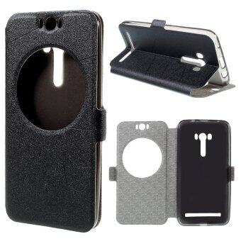 Harga Sand-like Texture Smart Leather Case for Asus Zenfone Selfie ZD551KL Window View - Black