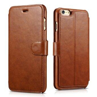 iPhone 6s Plus เคส [กระเป๋าสตางค์แบบคลาสสิก] [แม่เหล็กการปิด] พลิกปกหนัง pu เคสป้องกัน [3 ที่เก็บบัตรและ 1 ช่องเงินสด] กับบูธสำหรับ iPhone 6s Plus/6 Plus 13.97ซม (สีน้ำตาล 5.5)