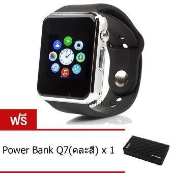 smile C นาฬิกาโทรศัพท์ Smart Watch รุ่น A1 Phone Watch (Black) ฟรี Power Bank Q7(คละสี)
