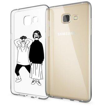 HugCase TPU เคส Samsung Galaxy A9 Proเคสโทรศัพท์พิมพ์ลาย White - Black เนื้อบาง 0.3 mm