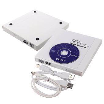 เครื่องอ่านเขียนซีดีแบบพกพา เครื่องอ่านและบันทึกแผ่น External Optical Disk Drive External CD CD-RW DVD ROM USB 2.0 Burner Combo Drive White