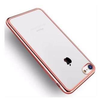 Case เคส ไอโฟน7 พลัส Iphone7 Plus เคสนิ่ม TPU ขอบชมพู เคสใส หรูหรา สีทองชมพู Rose Gold วัสดุ คุณภาพดี พร้อมส่ง