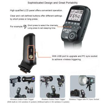 Godox xT32C ไร้สายพลังงานที่ควบคุมสื่อกระตุ้นไฟในตัว 2, 4G ไร้สายระบบ x 1/8000s ที่มีความเร็วสูงซิงค์สำหรับ Canon กล้อง Outdoorfree (ในประเทศ)