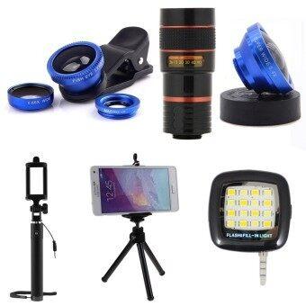 1Choice ชุดอุปกรณ์สำหรับถ่ายภาพ สำหรับโทรศัพท์มือถือ Clip Lens 3 in 1+Super Wide 4X+Len Zoom 8X+ไม้เซลฟี่+ขาตั้งมือถือ 3 ขา+มินิแฟลช (สีน้ำเงิน)
