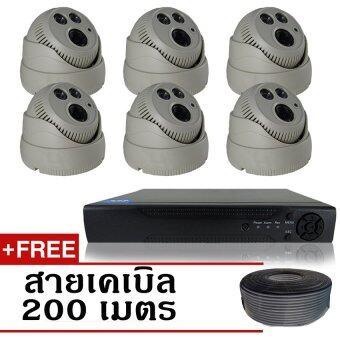 CCTV ชุดกล้องวงจรปิดกล้อง 8CH 1200 TVL 6ตัว โดม 1.0 ล้านพิกเซล HD เครื่องบันทึก 8 ช่อง + ฟรีสายเคเบิ้ล 200 เมตร
