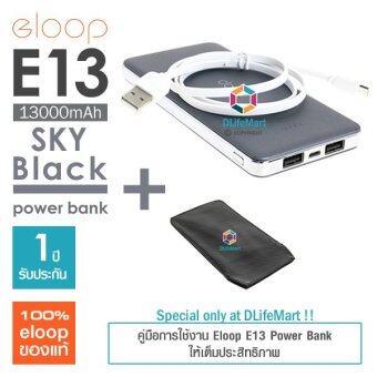 Eloop E13 13000mAh Power Bank (สีดำเทา) + ซองหนังลายเคฟลาร์