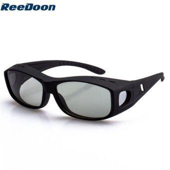Reedoon 9755 สนามแม่เหล็กแบบวงกลม 3D ไม่กระพริบแว่นตาสำหรับ TCL/LG 3D TV (สีดำ)