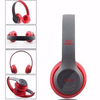 DT หูฟังบลูทูธแบบครอบหู รุ่น P47 Wireless (สีแดงเทา)