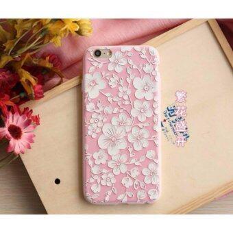 D8 เคส TPU ชมพูดอกขาว สำหรับ iPhone 6 Plus/iPhone 6s Plus