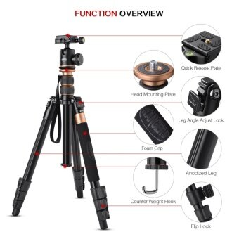 Rangers 56 Portable Lightweight CNC Aluminium Tripod with 360°Panorama Ball Head for DSLR Camera