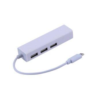 โอ้ USB 3.1 type C USB-C หลาย 3 ท่าเรือฮับกับอะแดปเตอร์เครือข่ายอีเทอร์เน็ตแลน