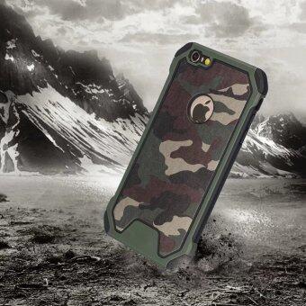 iPhone 6 ราย ฝ่ายพิสูจน์เคสกันกระแทกทิ้ง iPhone 6s สูงกระทบเสื้อเกราะพลาสติก และหนังดิบ TPU ไฮบริดพรางเคสสำหรับ Apple iPhone 6/6S-สีเขียวลายพราง (11.94ซม)