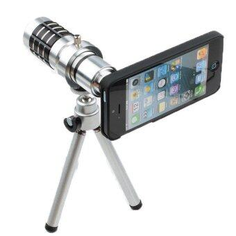 Harga 12X Optical Zoom Camera Telescope Aluminum Metal Phone Lens Mini Tripod And Case For Iphone 4S 4