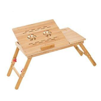 โต๊ะไม้ไผ่วางโน๊ตบุ๊ค 2 ใบพัดใหญ่ รุ่น 22F - สีไม้