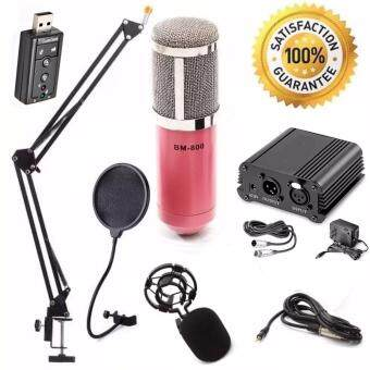 At First BM-800 Condensor Microphone ไมค์โครโฟนอัดเสียง ไมค์อัดเสียง SET+7.1 Sound Card USB+Phantom 48V