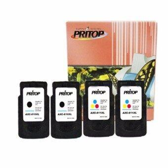 PRITOP Canon PG-810XL/CL-811XL ตลับหมึกอิงค์เทียบเท่า ดำ 2 ตลับ สี2 ตลับ