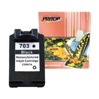 Pritop/HP ink Cartridge 703/703B/703BK/CD887A ใช้กับปริ้นเตอร์ HP DeskJet K209A/K109A/F735 AIO